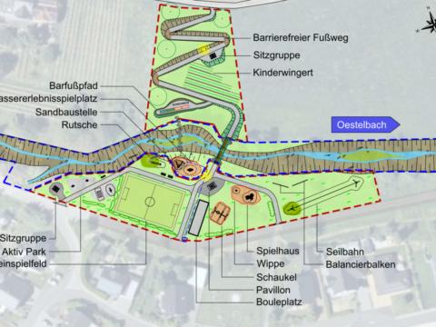 Osann-Monzel, Mehrgenerationenpark und Renaturierung Oestelbach